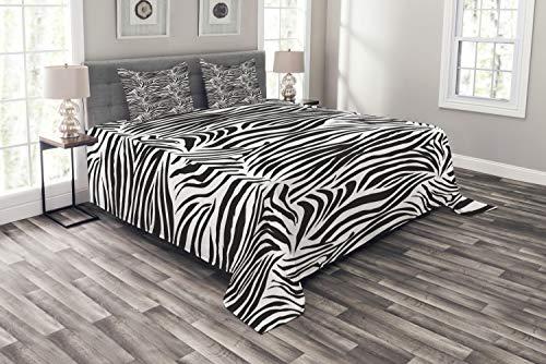 ABAKUHAUS Zebra-Druck Tagesdecke Set, Wilde Zebra-Linien, Set mit Kissenbezügen Klare Farben, für Doppelbetten 264 x 220 cm, Weiß Schwarz