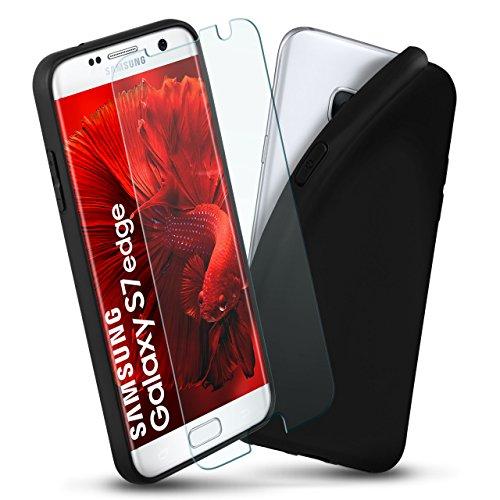 Samsung Galaxy S7 Edge | Custodia in silicone & pellicola protettiva [360 gradi Full-Screen] con cover posteriore per telefono cellulare sottile in vetro temperato Samsung Galaxy S7 Edge Case Slim