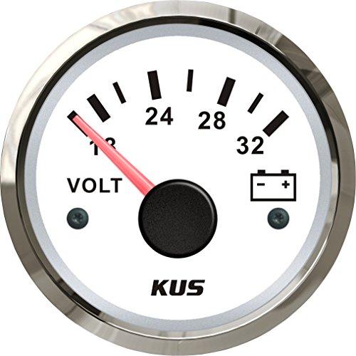 Kus Voltmètre Blanc Faceplate 24 V/18–32 V avec rétroéclairage 52 mm (5,1 cm)