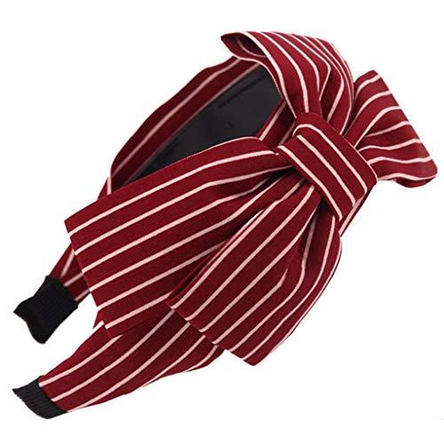 JIACUO Womens Vintage Brede Grote Ruched Strik Haarband Polka Dot Gestreepte Plaid Gedrukt Haar Hoop Anti-Skid Tanden Elastische Knoopte Hoofdband 18 Kleuren
