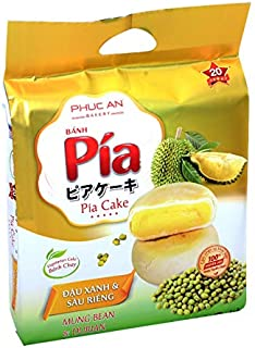 Ban Pia Dau Xanh & Sau Rieng (Mung Bean & Durian Cake) 4 Cakes - Pack of 1