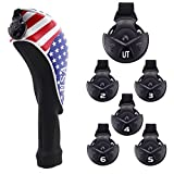 Craftsman Golf Stars and Stripes American USA US Flag Sock Headcover Head Cover for Scotty Cameron Taylormade Odyssey Hybrid (Sock Style)