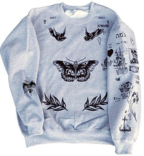 CrisTees Harry Styles One Direction Updated Tattoos Sweatshirt (Medium, Grey)