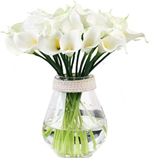 Calla Lily Bridal Wedding Bouquet Head Lataex Real Touch Flower Bouquets Pack of 10 (White)