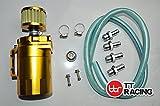 Depósito de aceite de aluminio de 0,5 l para coche, filtro de aire amarillo, 19 mm