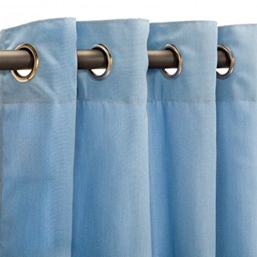 Pawleys Island Hammocks Canvas Air Blue Sunbrella Outdoor Curtain with Nickel Grommets 50 x 96
