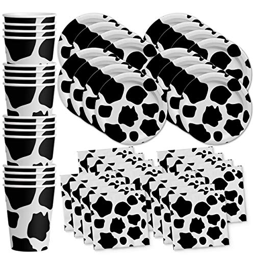 Cow Print Birthday Party Supplies Set Plates Napkins Cups Tableware Kit for 16