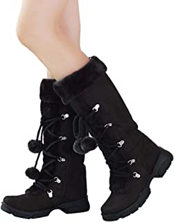 Fashion Boots Women's Knee-High Suede Lace Up Hairball Shoes Winter Slip-On Snow Boots 705