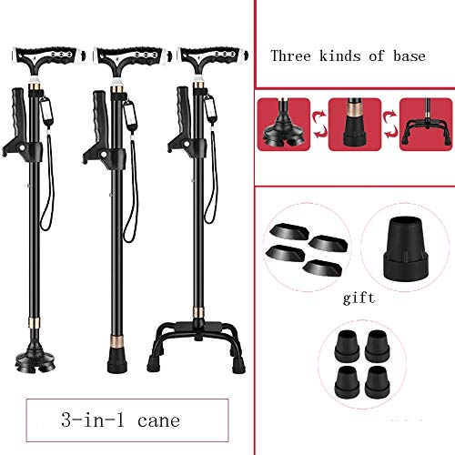 XRX 3-in -1 Adjustable Quad Cane Lightweight Walking Stick for Men and Women Walking Cane with T Handle Hand Crutch with LED Light Fashionable and Stable