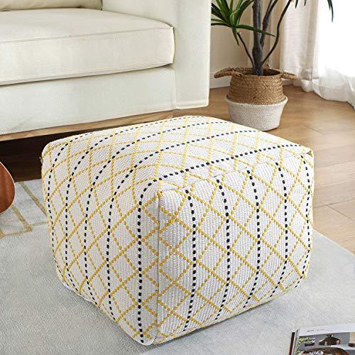 Unstuffed Square Pouf Ottoman Cover for Living Room, Cotton Linen Poof Pouffe Storage Bean Bag Poufs Ottomans Stool Footrest Extra Floor Cushion Seat...