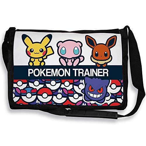 Chamalow Shop Pokemon Trainer Umhängetasche Pikachu, Evoli, Mew, Ectoplasma Chibi und Kawaii