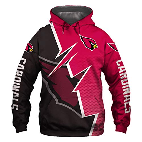 Hanbei Jersey Cardinals Sudaderas con Capucha De La Camiseta Unisex De La Impresión 3D De Fútbol Americano Sudadera con Capucha