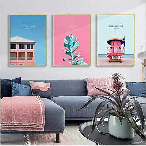 Scandinavische decoraties brievenbus Rosa Huis Wall Art Canvas Painting Blue Ocean Art Poster en afdrukken muurschilderingen voor de woonkamer 40 x 60 cm x 3 zonder lijst