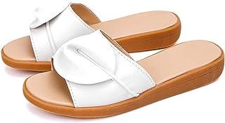 Hemore Women Mules Sandals Simple Flip Flops Summer Flat Mules Sandals Peep Toe Casual Beach Slippers