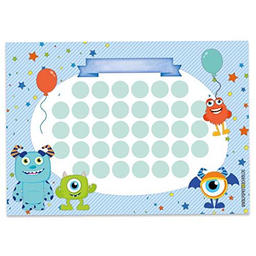 Papierdrachen Belohnungstafel Set für Kinder als Abreißblock 10 Blatt - Motivierendes Konzept als Erziehungshilfe - mit tollen Stickern für Jungs und Mädchen - Motiv Monster blanko Set 16