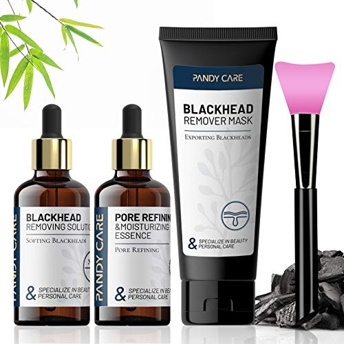 Blackhead Remover Mask, PandyCare 4-in-1 Charcoal Peel off Face Mask with Hyaluronic Acid Blackhead Export Liquid, Mega-Mushroom Pore Refining Essence & Brush - Deep Cleansing, Pore Refining & Moisturizing
