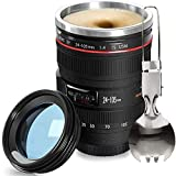 Fanatek Camera Lens Coffee Mug - 12.5oz,Reusable Tumbler Lens Mugs+Foldable Spoon,Stainless Steel Thermos & Blue Lid,Camera Gifts for Photographer,Travel SLR Camera cup,Interesting Finds for Men,Women