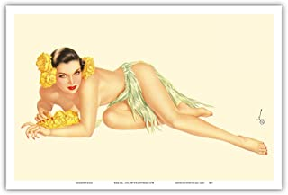 Varga Girl - June, 1943 - Vintage Topless Pin Up Calendar Page by Alberto Vargas c.1943 - Master Art Print - 12in x 18in