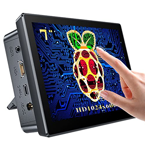Raspberry Pi Touchscreen Monitor 7'' Display with Case, Fan & Stand Featured Accurate 10-Point Touch, Heat Sink, Ultra Wide IPS 178°Screen, 1024X600, Type-C Compatible with Phone, Laptop or Computer