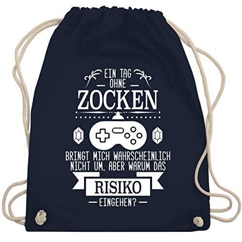 Shirtracer Nerd Geschenke - Ein Tag ohne Zocken - Unisize - Navy Blau - nerd rucksack - WM110 - Turnbeutel und Stoffbeutel aus Baumwolle