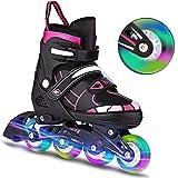Inline-Skates Rollschuhe für Kinder/Jungen/Mädchen Canvas-Design verstellbar mit leuchtenden...
