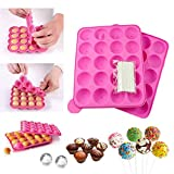 JUNXAVE BPA Free Lollipop Silicone Molds & Ball Shaped Mold,Cake Pop Mold, Muffin Cake Ice Cube Trays 120...