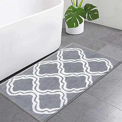 SHACOS Badematte Grau rutschfest Badvorleger Waschbar Mikrofaser Badezimmerteppich Wasserabsorbierend Badteppiche Flauschig Weich Badteppich für Badezimmer, 45x65cm