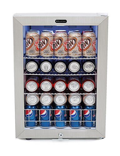 Whynter BR-091WS, 90 Can Capacity Stainless Steel Beverage Refrigerator with Lock, White