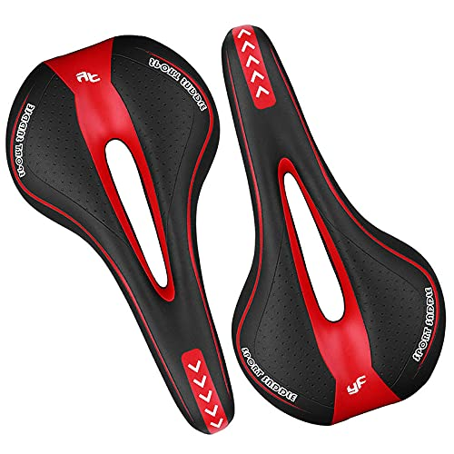 YingQ Sillines De Bicicleta 1 Uds Asiento De Bicicleta De Gel De Confort Suave para Carretera Sillín De Bicicleta De Montaña Cojín para Ciclismo Rojo