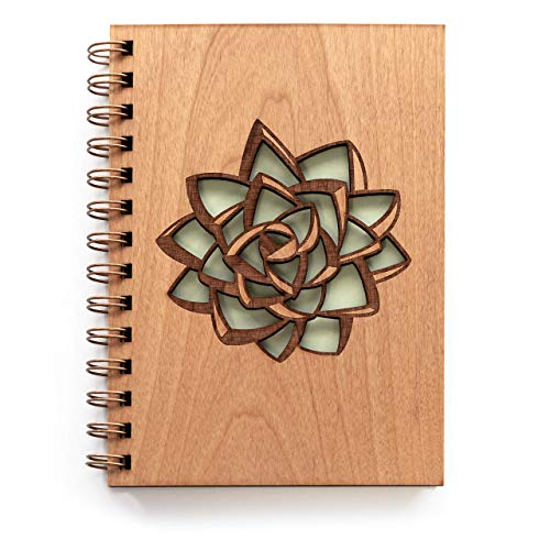 Succulent Wood Journal [Notebook, Sketchbook, Spiral Bound, Blank Pages, Gifts for Her, Valentine's...