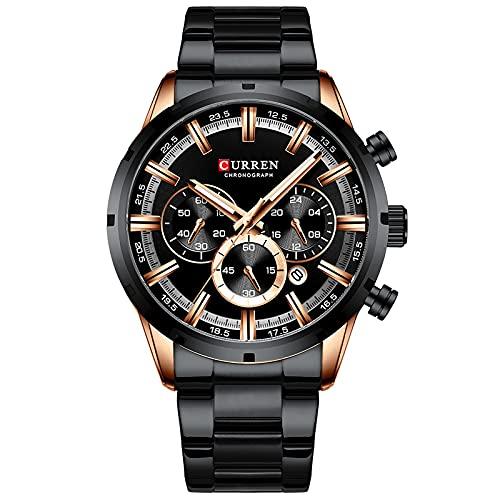 SXLONG Reloj para Hombre, Resistente Al Agua, De Cuarzo, Calendario De Seis Manecillas, Correa De Acero, Relojes Automáticos