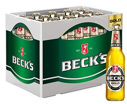BECK'S Gold Lager Flaschenbier, MEHRWEG (20 x 0.5 l) im Kasten, Pils / Lager Bier