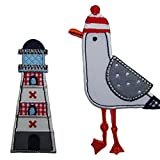 Trickyboo Applique Patches Set 2 Pieces Lighthouse 4X9cm Seagull 11cm