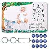 Elephant Baby Milestone Blanket - Unisex - Milestone Blanket Baby Boy - Baby Monthly Milestone Blanket Boy - Baby Monthly Milestone Blanket Girl - Shower Gift Basket - Baby Photography Prop - Swaddle