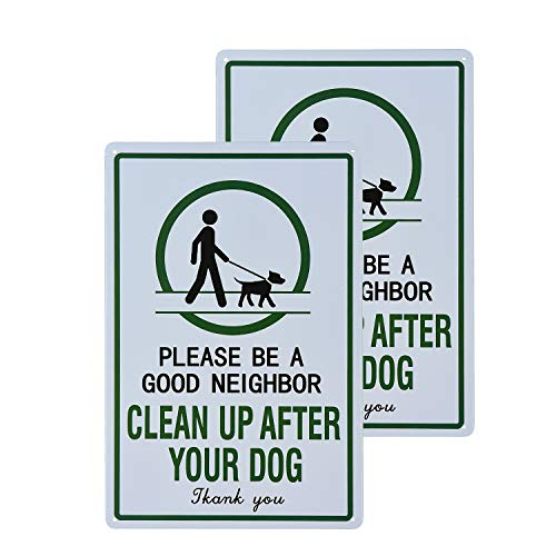 "dojune - 2 Stück Warnschild mit der Aufschrift ""Please Be a Good Neighbor Clean up After Your Dog"", industrielle Warnschilder Wanddekoration"