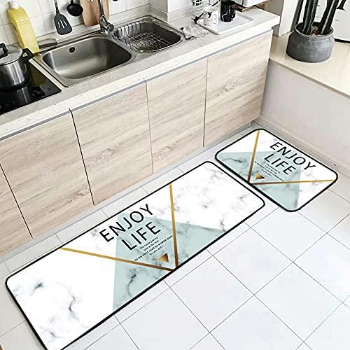 Tapis De Cuisine - Ensemble De Tapis De Cuisine Antidérapants Lavables 2 Pièces - Lignes Triangulaires Simples Marbré Tapis De Protection De Sol Imprimé pour La Maison Tapis De Sol Confo