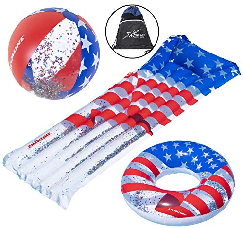 Swimline Americana Inflatable Pool Toy Set: 22' Glitter Beach Ball, 72' Floating Mattress, 36' Donut Ring, and Drawstring Bag
