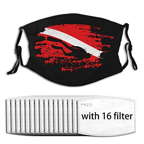 Scuba Diving Red Flag Face Mask with 16 Replaceable Air Filters Bandana Scarf Adjustable Reusable Washable Black Cloth Adult Women Men Kids Design