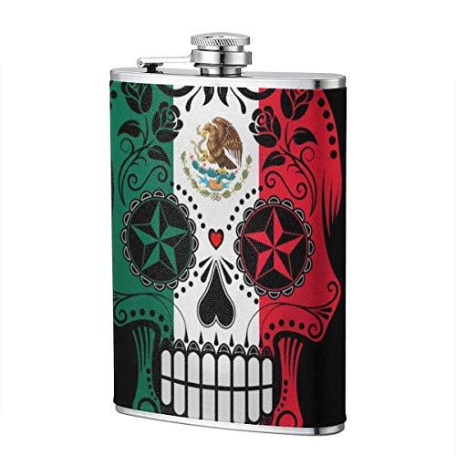 Trinkflaschen für Alkohol, Bandera Mexicana Sugar Skull Edelstahl Flachmann für Schnaps für Männer
