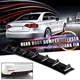 Ruien 33' x6' Universal Rear Bumper Lip Diffuser Car Rear Bumper Chassis Black Spoiler Shark Fin 7 Wing Glossy Black ABS