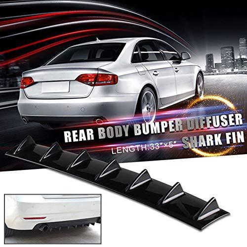 Ruien 33 x6 Universal Rear Bumper Lip Diffuser Car Rear Bumper Chassis Black Spoiler Shark Fin 7 Wing Glossy Black ABS