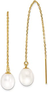 Mia Diamonds 14k Yellow Gold 5-7mm White Rice Freshwater Cultured Pearl Post Earrings