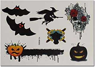4 Sheets Witch Bat Halloween Temporary Tattoo Stickers for Kids Cosplay Costume Party