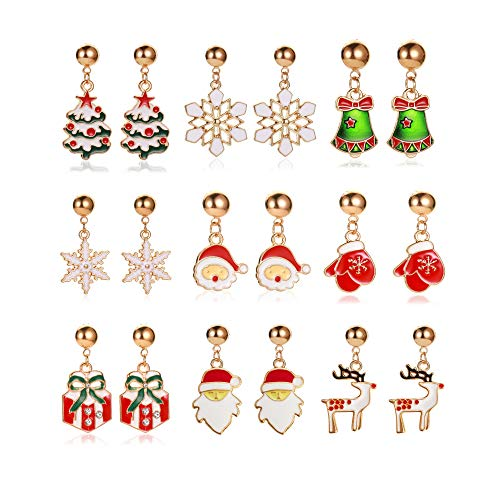 6-9 Pairs Christmas Earrings Set Christmas Tree Bell Santa Elk Snowflake Drop Dangle Earrings Women Cute Holiday Long Tassel Earrings Thanksgiving Party Gifts-B 9 pairs