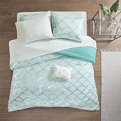 Intelligent Design Lorna Complete Bag Trendy Metallic Mermaid Scale Scallop Print Comforter with Polka Dots Sheet Set, Teen Bedding for Girls Bedroom, Full, Aqua 8 Piece