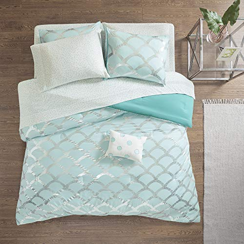 Intelligent Design Lorna Complete Bag Trendy Metallic Mermaid Scale Scallop Print Comforter with Polka Dots Sheet Set, Teen Bedding for Girls Bedroom, Full, Aqua