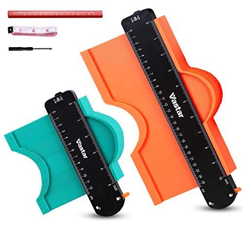 Vastar Contour Gauge con blocco, strumento per duplicatore di contorni a forma allargata da 2 confezioni da 5'e 10', misuratore per angoli, modelli per la lavorazione del legno, piastrelle e laminato