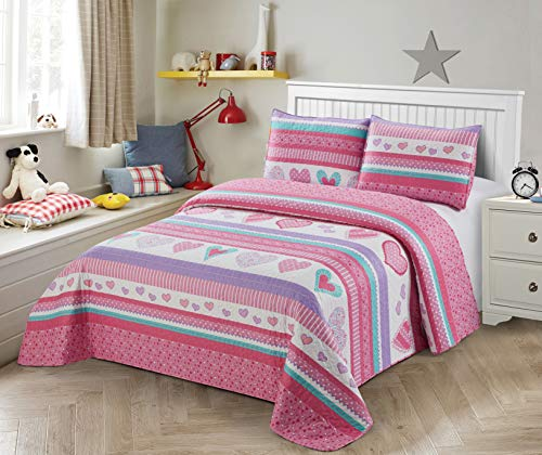 Better Home Style White Pink Purple Turquoise Hearts & Polka Dots Kids/Girls/Teens 3 Piece Coverlet Bedspread Quilt Set with Pillowcases # Hearts (Queen/Full)
