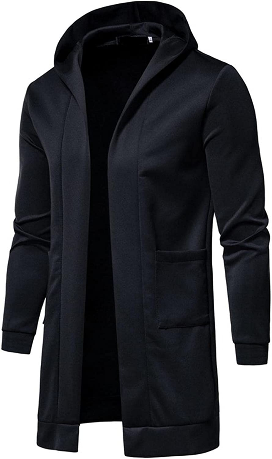 Burband 2021 Mens Casual Kimono Cardigan Jackets Big and Tall Open Front Long Hoodie Pullover Sweater Coats with Pockets