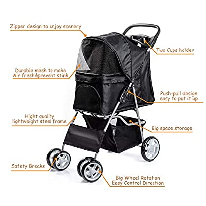 Display4top Pet Travel Stroller Dog Cat Pushchair Pram Jogger Buggy With 4 Wheels (Black) 8